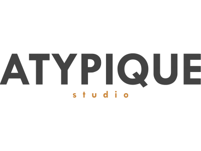 Logo ATYPIQUE STUDIO Gris et Orange PNG