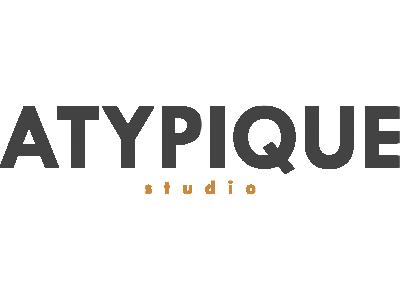 Logo ATYPIQUE STUDIO Gris et Orange PNG